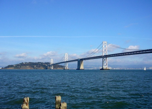 Bay bridge and Yerba buena from Howard St. by Abrahami