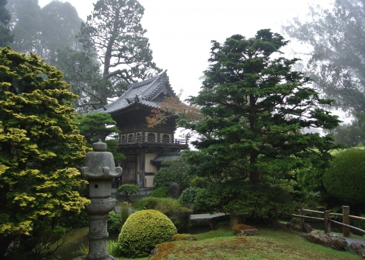Japanese garden with Pagoda tucked among trees