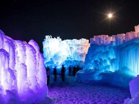 Ice sculptures lit up at night
