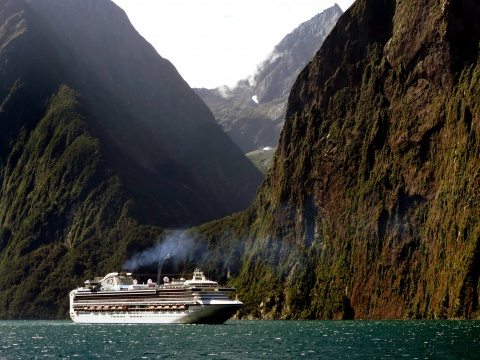 Cruise ship passing through the Milford Sound