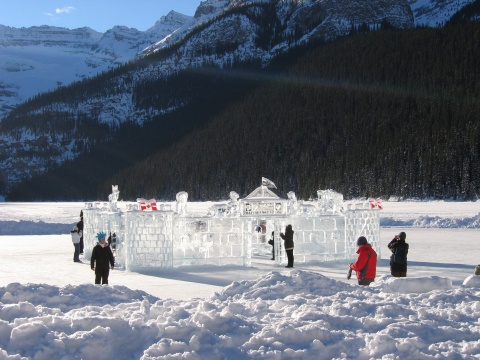 Winter ice sculpture at the Ice Festival in Canada