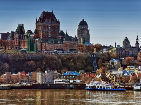 View of Château Frontenac Québec Castle from St. Lawrence River