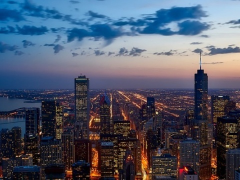Photograph of Chicago at night