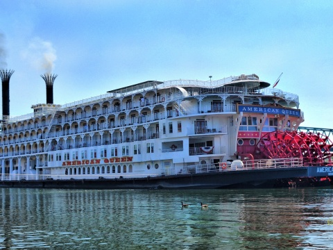 American Queen on the river