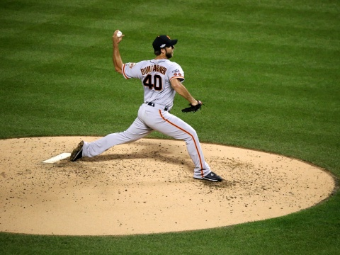 Giants starter Madison Bumgarner delivers a pitch during the NL Wild Card Game.
