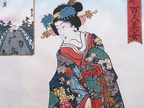 19th century painting of a woman wearing a kimono