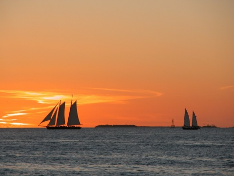 Key West sunset over the ocean