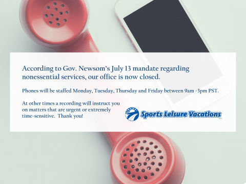 According to Gov. Newsom's July 13 mandate regarding nonessential services, our office is now closed. Phones will be staffed Monday, Tuesday, Thursday and Friday between 9 am and 3 pm Pacific Time. At other times a recording will instruct you on matters