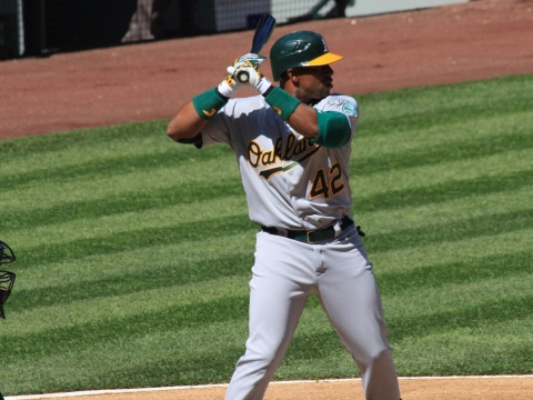 Oakland A's player up to bat