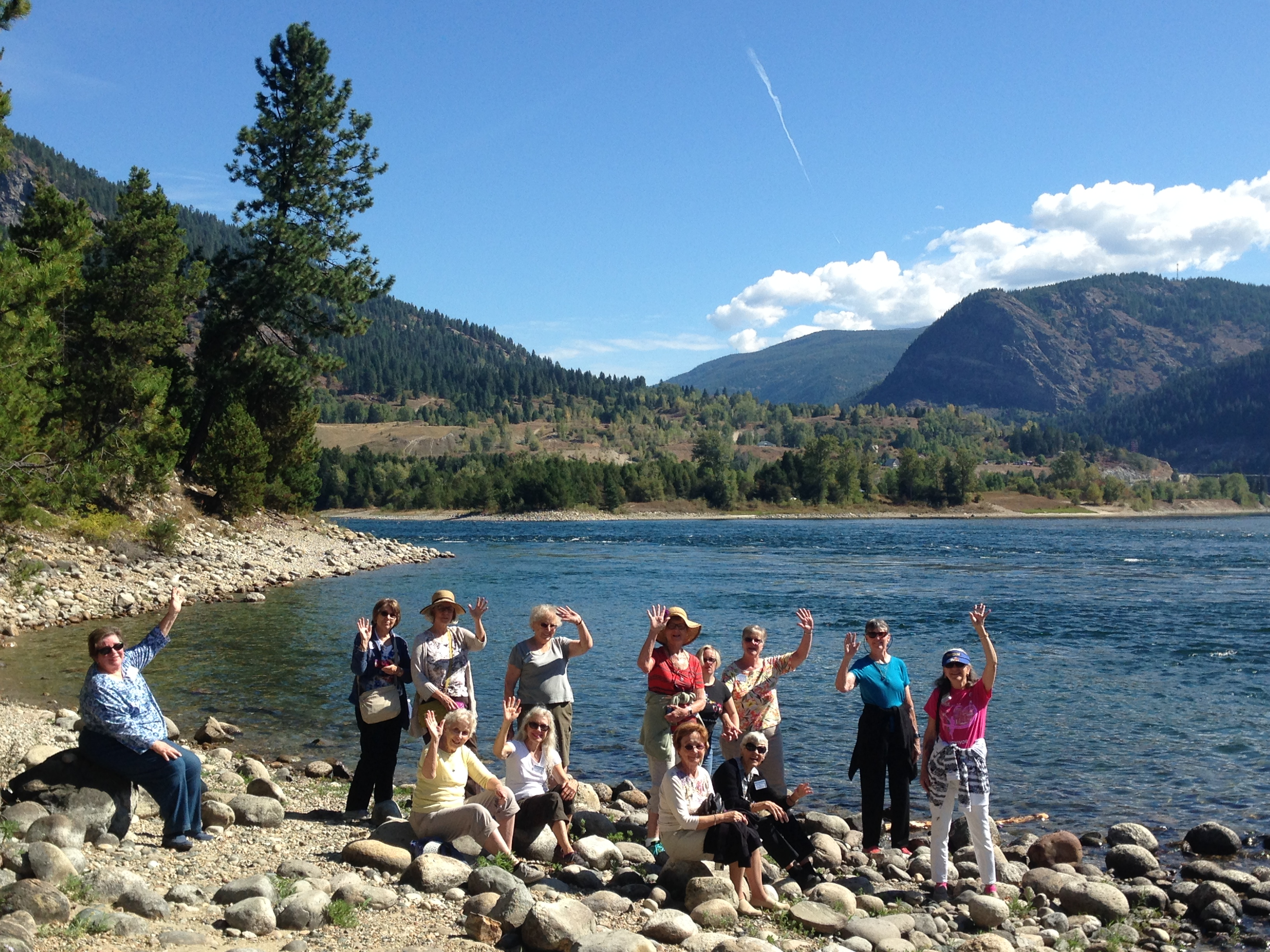 Sports Leisure travelers at the confluence of Columbia River & Kootenay River, Selkirk