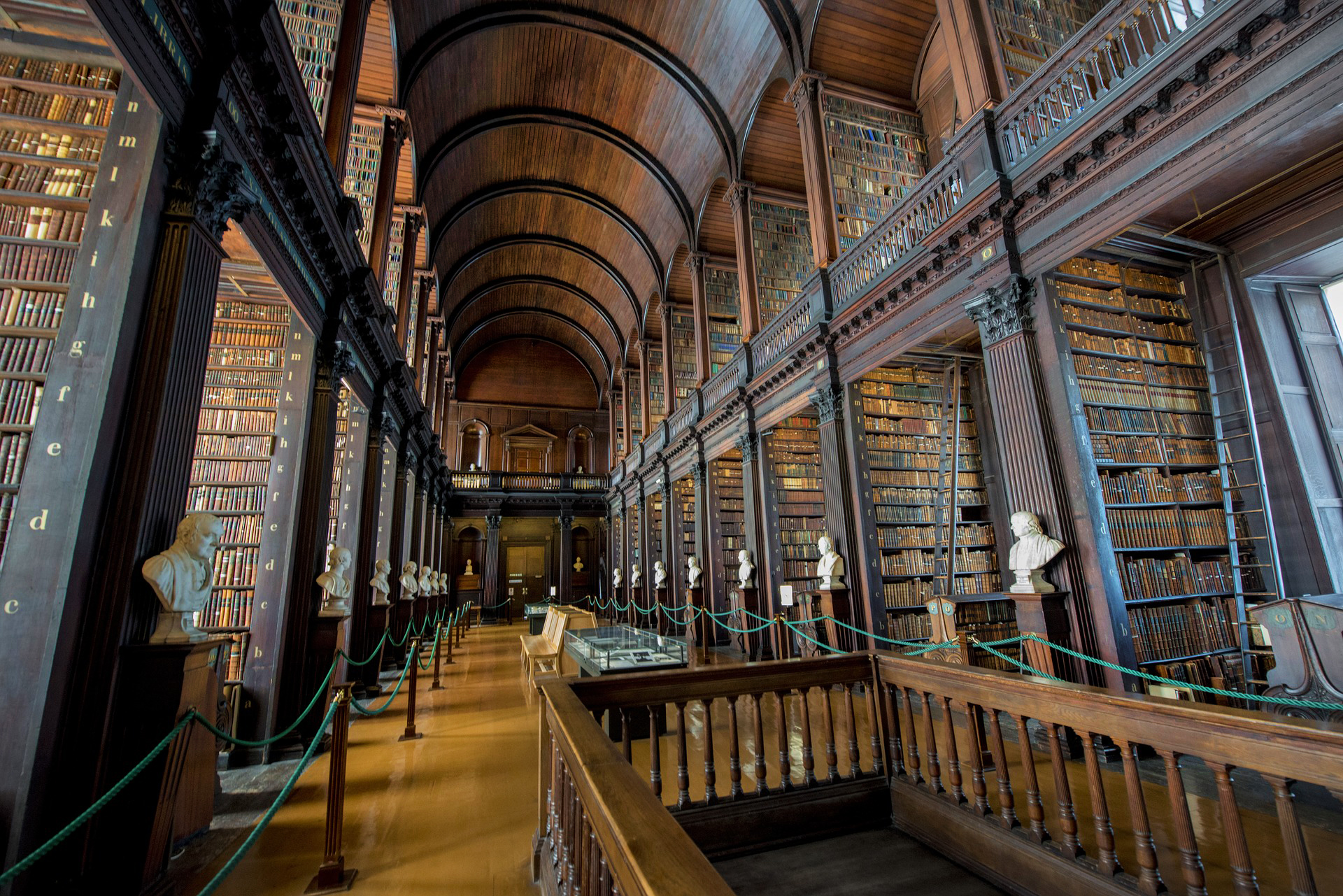 Towering bookshelves at Trinity College, Ireland