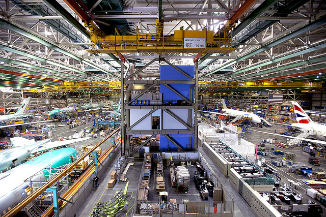 At Boeing's factory, in Everett Washington